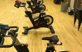 spin bikes lined up
